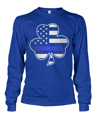 Thin Blue Line Shamrock American Flag Shirts and Hoodies