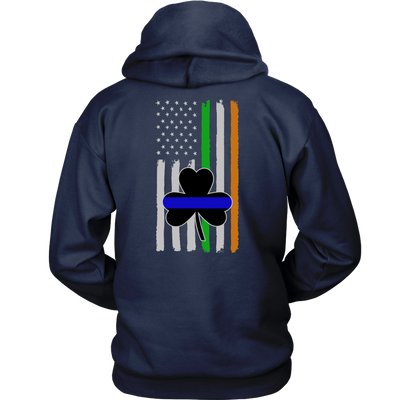 Thin Blue Line Shamrock Distress Irish Flag Shirts & Hoodies