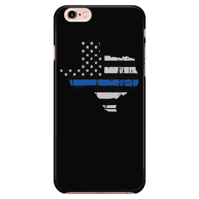 Texas Thin Blue Line American Flag - Black Phone Case