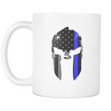 Spartan Helmet Thin Blue Line Flag Mug - White