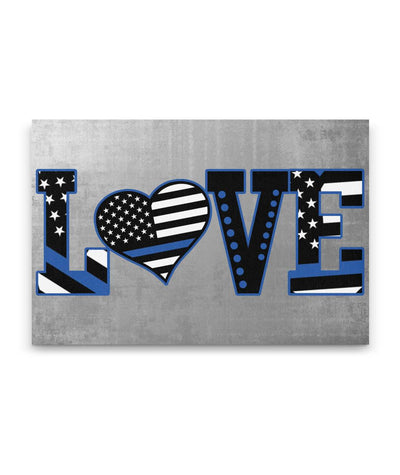 Thin Blue Line Flag LOVE Canvas Wall Art