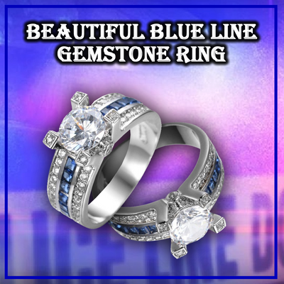 White Gold Plated Blue Line Gemstone Ring