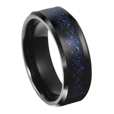 Thin Blue Line Blue Celtic Inlay Ring With Dragon Black Edges