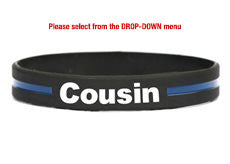 Thin blue line bracelets for mom, dad, wife, husband, son, daughter, brother, sister, grandpa, grandma, girlfriend, cousin –get the family pack & save