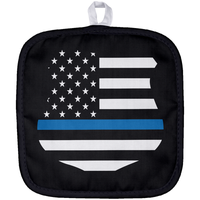 Thin Blue Line American Flag Shield  Pot Holder