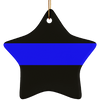 Thin Blue Line Ceramic Ornament - One Sided