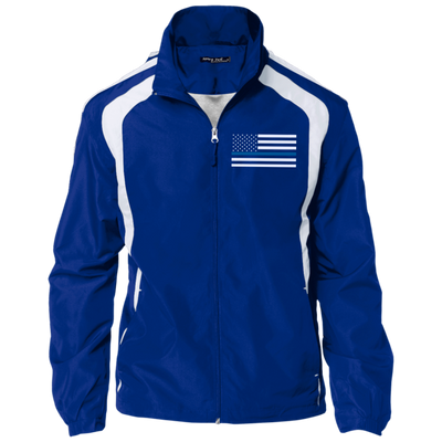 Thin Blue Line Jacket - American Flag - Royal Blue and White