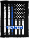 Personalized Thin Blue Line USA Flag Blanket