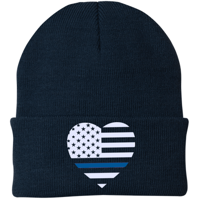 Thin Blue Line Heart Flag Beanie