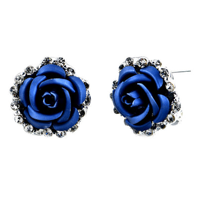Gorgeous Sparkling Blue Rose Stud Earrings
