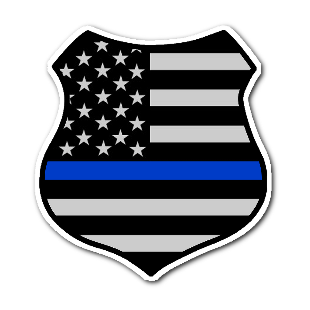 Thin Blue Line American Flag Shield Sticker Thin Blue