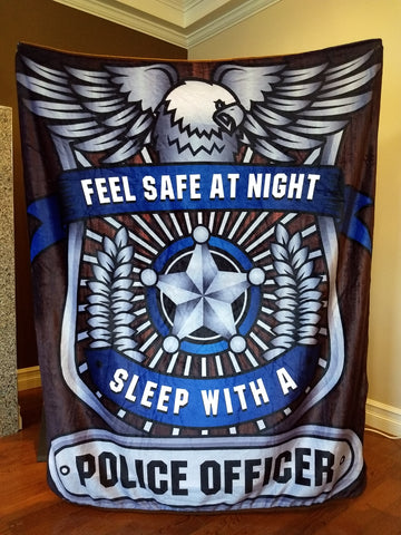 Christmas Special - Feel Safe At Night Sleep With A Police Officer Throw Blanket