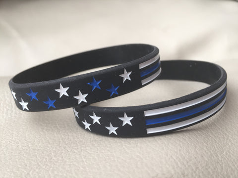 Thin Blue Line Flag Style Silicone Bracelet (Buy One Get the other Free! 2 Styles 1 Low Price)