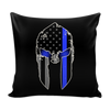 Spartan Helmet Thin Blue Line Pillow