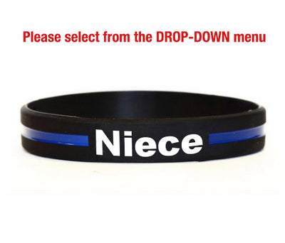 Thin Blue Line Silicone Relatives and Friend Bracelets for Aunt, Uncle, Niece, Nephew and Friend