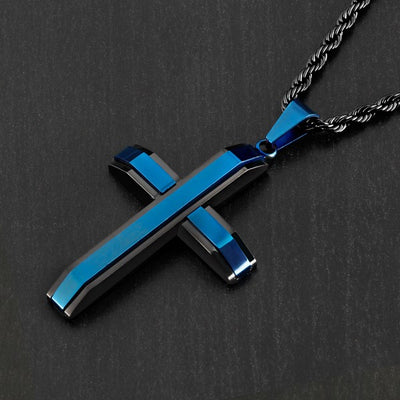 Thin Blue Line Two-Tone Stainless Steel Cross Necklace