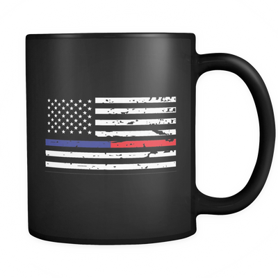 The Blue and Red Line American Flag Mug - Black