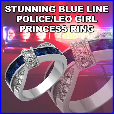 GORGEOUS WHITE GOLD TIGRADE BLUE LINE PRINCESS SAPPHIRE SIMULATED RING
