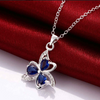 Three Leaf Clover Lucky Blue Necklace