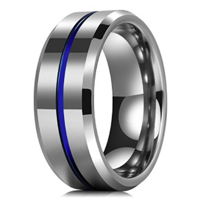 Stunning TBL Blue Ionic Tungsten Ring