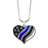 Gorgeous Thin Blue Line American Flag Heart Necklace