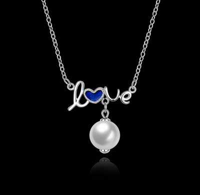 Sterling Silver Blue Heart LOVE PEARL Necklace .925