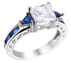Princess Cut Deep Blue Sapphire Ring - Plated in White Gold
