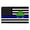 Shamrock Thin Blue Line USA Flag