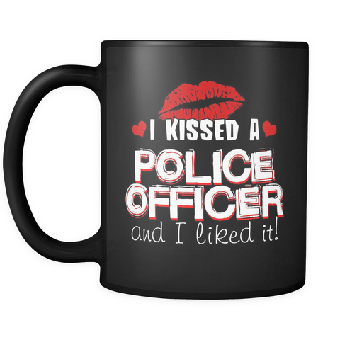 I KISSED A POLICE OFFICER - RED KISSES - MUG