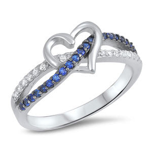 Sterling Silver Thin Blue Line Heart Ring
