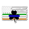 Thin Blue Line Shamrock & Irish Flag Sticker Decal