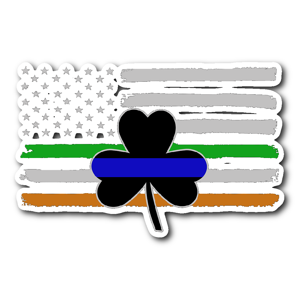 c98da8a2fc5d8 Thin Blue Line Shamrock   Irish Flag Sticker Decal - Thin Blue Line Shop