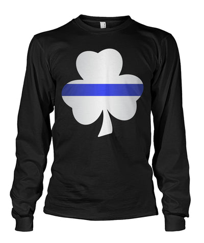 Thin Blue Line Shamrock Irish Leaf Shirts and Hoodies