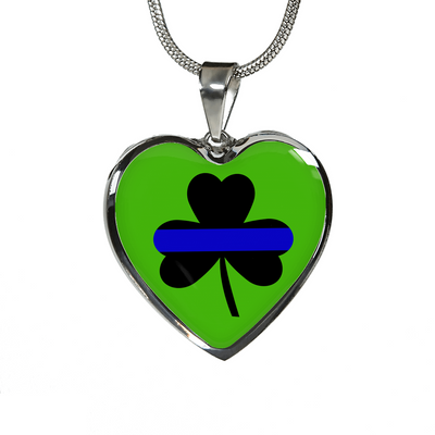 Saint Patrick's Day Shamrock Thin Blue Line Heart Luxury Necklace or Bangle