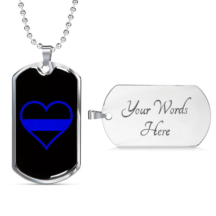 Thin Blue Line Heart Dog Tag