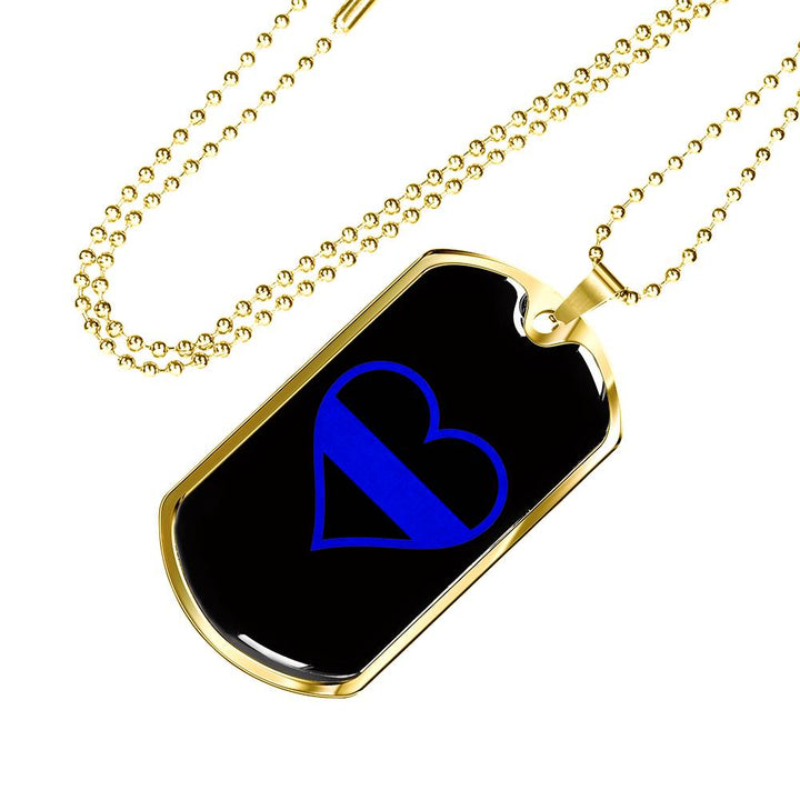 Thin Blue Line Heart Dog Tag 165a63114ad
