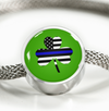Shamrock Thin Blue Line Flag Circle Luxury Bracelet