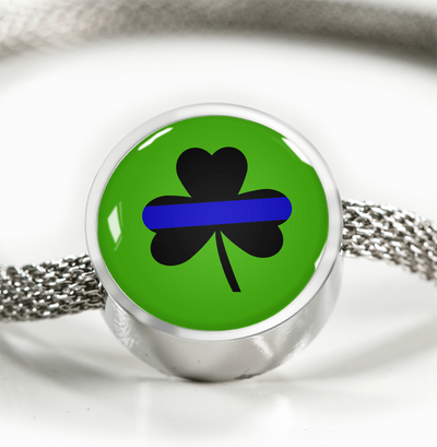 Saint Patrick's Day Shamrock Thin Blue Line Circle Charm Luxury Bracelet