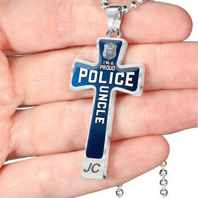 Proud Police Uncle Cross Necklace