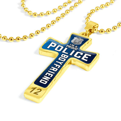 Proud Police Boyfriend Cross Necklace