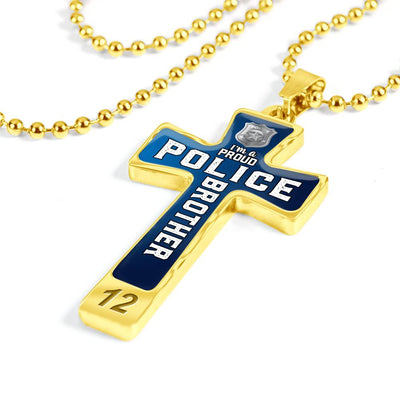 Proud Police Brother Cross Necklace