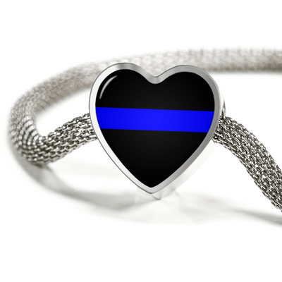 Thin Blue Line Heart Charm with Luxury Bracelet