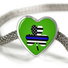 Shamrock Thin Blue Line Flag Heart Charm Luxury Bracelet