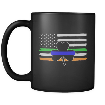 Thin Blue Line Shamrock & Irish Flag Mug