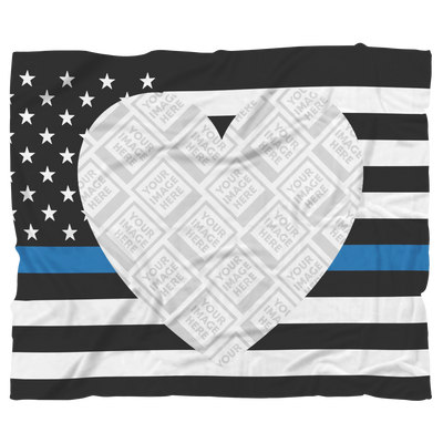 THIN BLUE LINE Heart Flag Personalized Blanket FRAME