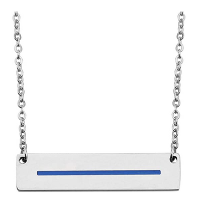 Thin Blue Line Bar Necklace