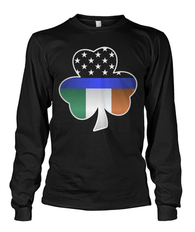 Shamrock Thin Blue Line Irish Flag Shirts and Hoodies