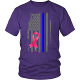 Breast Cancer Awareness Thin Blue Line Flag Shirt