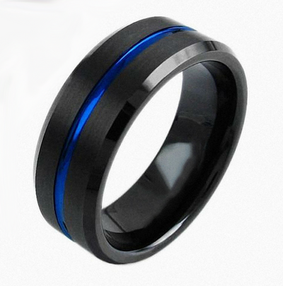 Thin Blue Line Ring - Black and Blue Tungsten Carbide Ring