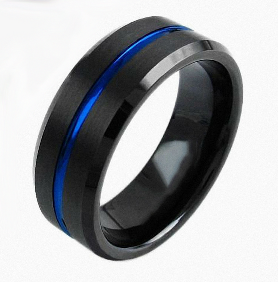thin enforcement s rings law black police blue collections line jewellery men mens tungsten ring carbide and